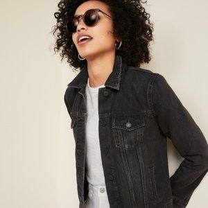NWT Old Navy black distressed jean jacket LP